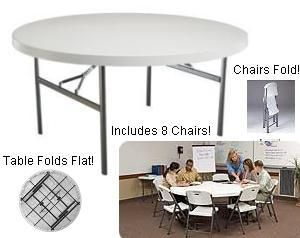 New Lifetime 60 in Round White Folding Table 8 Chairs