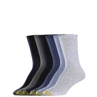 Gold Toe Womens Socks Ribbed Crew Flannel Navy Black 6 Pairs