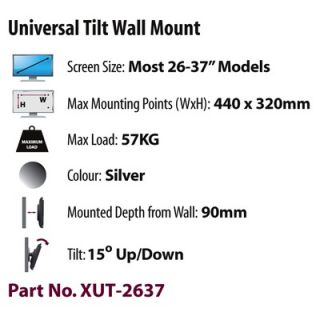 Chief PWR Universal Single Arm Plasma Wall Mount for Steel Studs