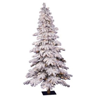 Vickerman Flocked Spruce Alpine 7 Artificial Christmas Tree with