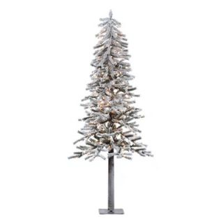 Vickerman Flocked Alpine 6 Artificial Christmas Tree with Clear