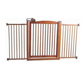 Richell Extra Wide One Touch Wooden Pet Gate in Autumn Matte Finish