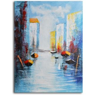 My Art Outlet Hand Painted Modern Oil Painting Sail Boats and Silos