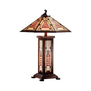 Dale Tiffany 25 Woodruff Three Light Table Lamp in Walnut