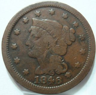 1846 OLD US COIN LARGE CENT Pre Civil War PENNY
