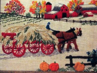 Framed Farm Scene Crewel Hay Wagon Horses Barn Autumn Pumpkins Farmer