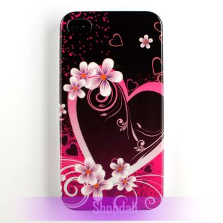 Pink Purple Big Love Hearts Hard Case Cover for Apple iPhone 4 4S