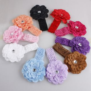 10pcs New Baby Girls Crochet Headband with Flower Hair Band Free