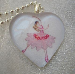 Pink Tutu Dance Heart Shaped Glass Pendant Art Necklace