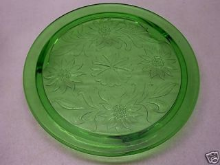 Green Depression Glass Sunflower Cake Plate