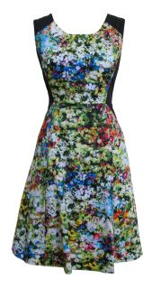 Black Green Spring Floral Day Dress Jocasta Size 8 New