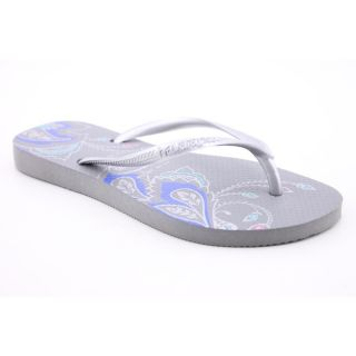 Havaianas Slim Thematic Youth Kids Girls Size 2 Silver Flip Flops