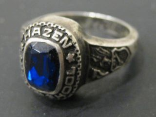 Vtg 1977 Hazen High School Sterling Class Ring w Cobalt Blue Glass