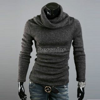 Heap Collar Mens Slim Fit Bottoming Shirts Sweater High Collar