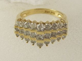10 KT Solid Yellow Gold Ladies Bold 3 Row Round Diamond Pyramid