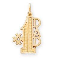 14k Number 1 Dad Charm   Measures 26.9x15.2mm   JewelryWeb