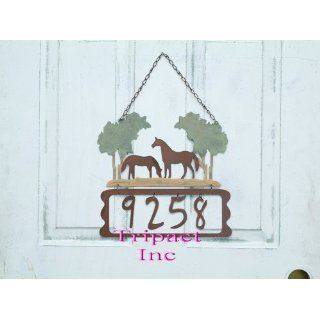 Rustic Horse Number Door Plates (Can Change Number)