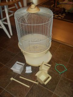 Hoei Large Bird Cage White Oval 21 Tall w Lots EXTRAS