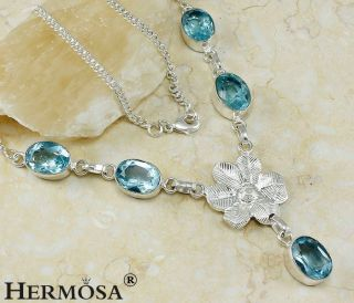 Heaven Flower Gentle Shiny Swiss Blue Topaz Sterling Silver Necklace