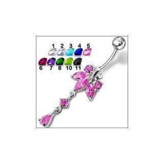 Belly silver Tri petals Flower Belly Ring With Dangling