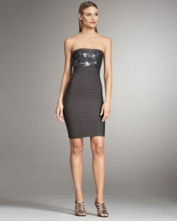 Nicole Miller Strapless Sequin Tulle Dress