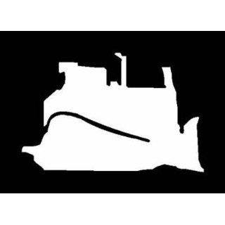 BULLDOZER White SILHOUETTE Vinyl Sticker/Decal (Construction, Road