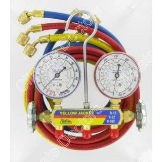 Yellow Jacket 41215 Manifold HVAC Gauges W/Hoses R 12; R