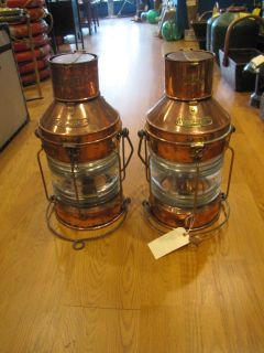 Antique Pair of Copper Lanterns SHIP Salvaged Meteorite 20 inches Tall