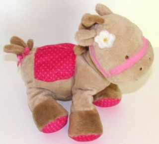 Carters Just One Year Hot Pink Tan Pony Horse Baby Toy Plush Stuffed