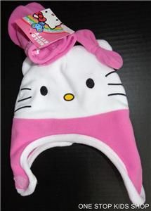 HELLO KITTY Toddler Girls Winter Set Costume HAT & MITTENS Gloves