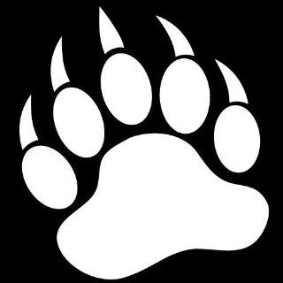 GRIZZLY BEAR PAW PRINT   Vinyl Decal Sticker 5 WHITE