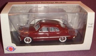 American Heritage 1 43 Scale Die Cast 1950 Ford 4 Door Sedan Maroon