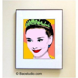 Audrey Hepburn (yellow)   Framed Pop Art By JBAO (Signed