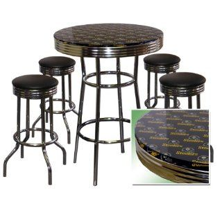 Pittsburgh Steelers 5 Piece Chrome Glass Pub Bar Table Set
