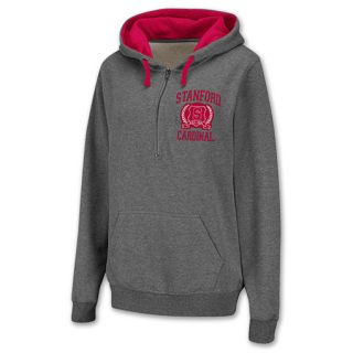 Stanford Cardinal Half Zip NCAA Womens Hoodie Grey