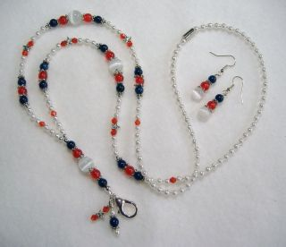 Patriotic ~ Red White & Blue ~ Beaded Lanyard Necklace ID ~ pjlaw