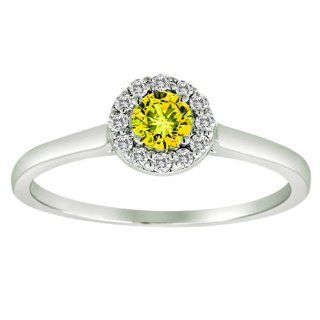 14K White Gold Halo Round Diamond & Yellow Sapphire Ring