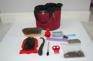 Class Red 10 Piece Grooming Kit with Tote Bag Horse Tack Equine