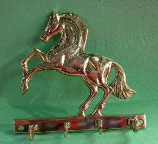 Western Rodeo Horse Jumping Solid Brass Wall Key Rack Cles Cheval