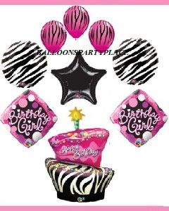 Zebra Hot Pink Black Polka Dot Balloons Birthday Party Birthday Girl