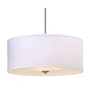 Hubbell Lighting Brushed Steel Pendant w White Drum Shade Chandelier