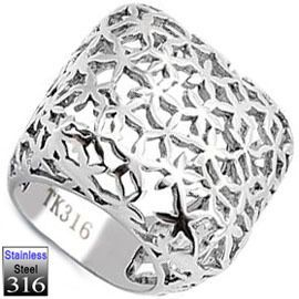 Ladies Huge No Stone Stainless Steel Ring New