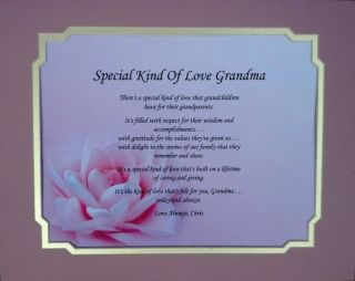 KIND OF LOVE GRANDMA POEM PERSONALIZED GIFT FOR BIRTHDAY OR CHRISTMAS