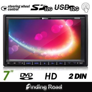 D2229 Milion 7LCD HD 2Din Car FM Radio Video DVD Player Touch Screen