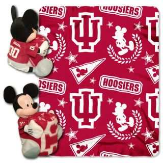 Disney Indiana Hoosiers Mickey Mouse Plush & Blanket Set 40x50 Fleece