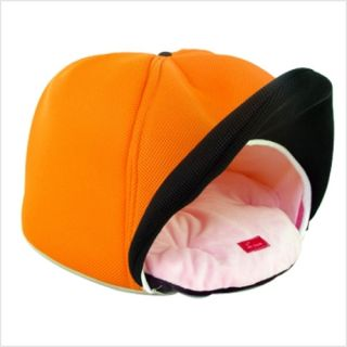 Indoor Pet Dog Cat Cushion Bed House Cap Shape Orange