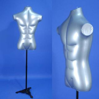 Silver Male Inflatable Torso Form Mannequin w/ a Black Metal Stand