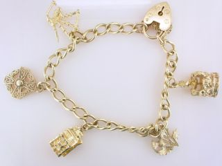 Yellow Gold Scottish Celtic Ladies Charm Bracelet Jewelry