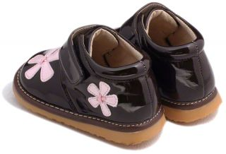Girls Toddler Leather Squeaky Shoes Boots Brown Pink