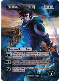 FOIL ALTERED ART JACE, MEMORY ADEPT M13 MAGIC THE GATHERING + FREE
